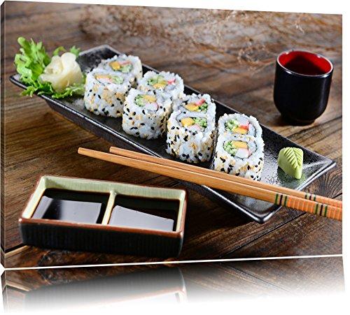 Delikate Inside Out Sushi Rollen Format: 60x40 auf Leinwand, XXL riesige Bilder fertig gerahmt mit Keilrahmen, Kunstdruck auf Wandbild mit Rahmen, günstiger als Gemälde oder Ölbild, kein Poster oder Plakat