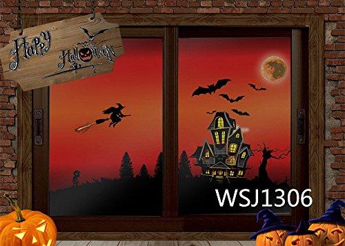 LB 210x150cm Vinyl Hintergründe | Halloween Theme - Hexe und Fledermaus fliegen in den Himmel Thema | Professionelle Studio Fotografie Hintergrund Für Paty / Bühne Dekor WSJ1306