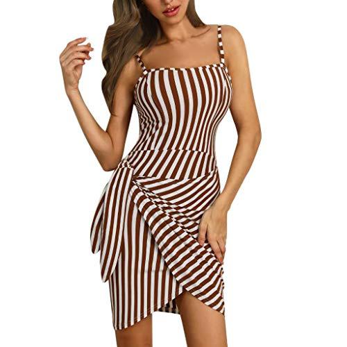 AZZRA Frauen Ärmelloss Ferien gestreiften Kleid Damen Mini Bowknot-Partei-Kleid Lange Kleider V-Ausschnitt Sommerkleider Kurzarm Wickelkleid Maxikleid Strandkleid -