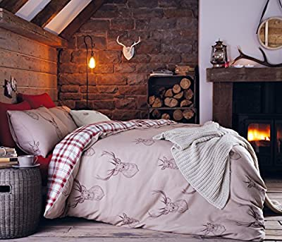 Contemporary Stag and Tartan Cotton Rich Duvet Cover Set by Catherine Lansfield