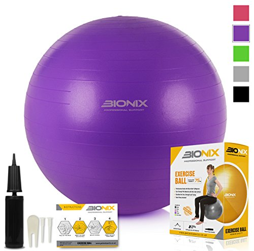 Gym Ball Exercise Anti Burst 75cm Purple - Swiss Fitness Yoga Pilates Balance Balls 1200 Grams Heavy Duty Anti Slip With Hand Pump Studio Training Workout Ball Maternity Home Gym Office Use