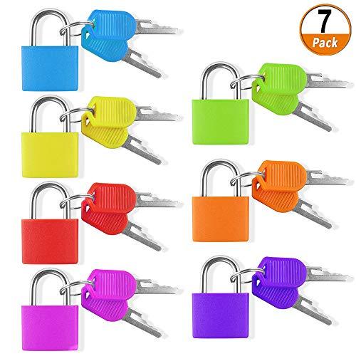 Chudian 7Pcs Candado Colores con Llave,Pequeño Candado con Dos Llaves,Candado Coloridos Son fáciles...