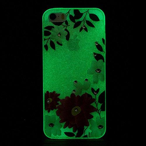 Paillette Coque Housse Etui pour iPhone 6/6S,iPhone 6S Coque en Silicone Clear Etui Housse avec Bling Glitter Diamant Strass Transparent Gel Slim Case Soft Gel Cover Skin, Ukayfe Etui de Protection Ca fleur rouge