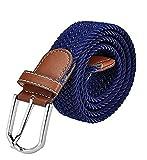 Ducomi® Sails - Cintura Elastica Unisex in Corda Intrecciata con Dettagli in Cuoio e Fibbia Classica - Idea Regalo di Natale per Uomo e Ragazzo - Lunghezza 101 cm (Blue)