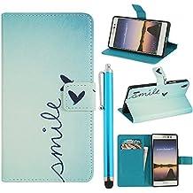 Hunye PU Cuero Carcasa Funda para Huawei Ascend P7 Flip Case con Soporte Tapa Smile Cover con Stylus Pen azul claro