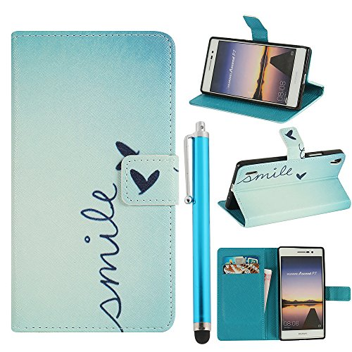 Hunye PU Ledertasche im Bookstyle Schutzhülle für Huawei Ascend P7 Tasche Etui Cover Smile Sprüche Muster Flip Case Schale mit Stylus hellblau