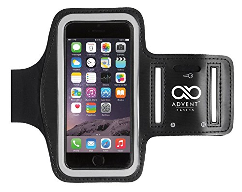 Advent Basics Sports Armband | Sports Arm Belt | Mobile Case For Running Jogging Sports & Gym Activities || Compatible With iPhone 6 | 6s | Vivo | Oppo | Samsung | Sony | Motorola | Lenovo | Microsoft & Other Phones (Up to 47 to 55 inch) (Black)