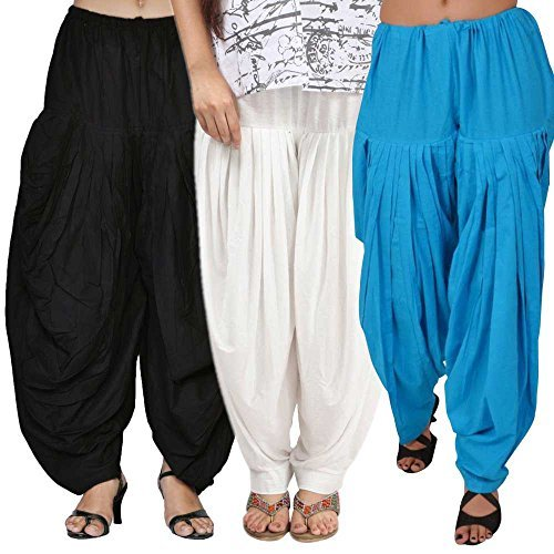 Rooliums Women's Cotton Salwar Combo (Pack of 3) (HRSALBWSBL _Multicolor_Free Size)