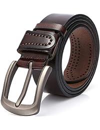 DOVAVA Cintura da Uomo, Cinghia Maschile in Pelle Vera con Fibbia,Cinture Elegante per Jeans,Pantaloni Casual o Formali,100% Pelle