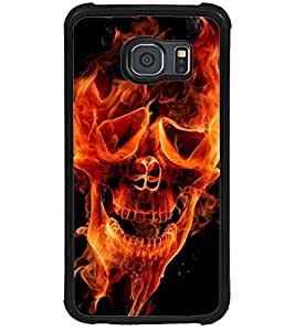 ColourCraft Flaming Skull Design Back Case Cover for SAMSUNG GALAXY S6