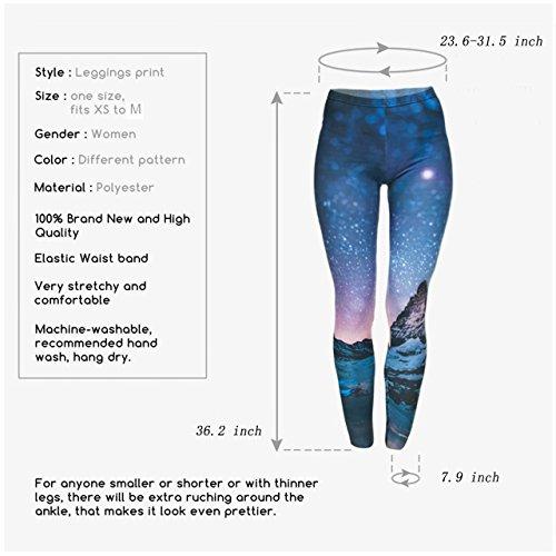 CHIC DIARY Damen bunt Sport Strumpfhose Leggings mit muster Fitness Yoga Joggen Pants Hose Mehrfarbig One size Sternenhimmel Design