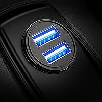 Cargador de Coche con Doble USB Puerto Cargador Móvil 5V/4.8A/24W, Adaptador Automóvil con Fast Charging Tech Mini Small Size para iPhone X / 8 / 8 Plus / 7, iPad Air / Pro, Samsung, HTC, LG y más (Negro) (1 paquete)