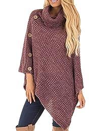 ZORE Mujer de Punto Tortuga Poncho Cuello con botón Dobladillo Irregular suéteres  suéter Women Sweater e153cff28601