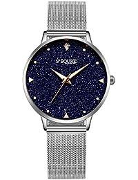 Alienwork Reloj Mujer Relojes Acero Inoxidable Plata Analógicos Cuarzo  Negro Impermeable Esfera del mármol Verdadero 978d11e41b4d
