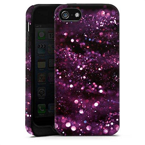 Apple iPhone X Silikon Hülle Case Schutzhülle Glitzer Muster Lila Tough Case matt