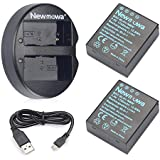 Newmowa BLH-1 Battery (2 Pack) And Dual USB Charger For Olympus BLH-1 And Olympus EM1 MARK II Camera(Half-Decoded)