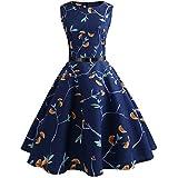QUINTRA Damen Kleid Retro Cocktailkleid Vintage Druck Sleeveless Faltenrock beiläufiges Abend-Partei-Abschlussball-Schwingen-Kleid (Dunkelblau A, S)