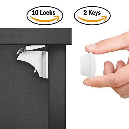 Dokor Baby Sicherheit Magnetisches Schrankschloss, die unsichtbare Kindersicherung für Schranktür und Schubladen, ohne Bohren und Schrauben (10 Schlösser + 2 Schlüssel)