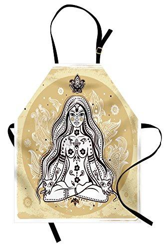 Lunarable Delantal de yoga, meditador para niña con diseño de cachemira y...