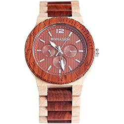 BS ® Handmade Fashion Wooden Wristwatch Water Resistance Red Sandalwood and Maple With Day Date Function BNS-160D