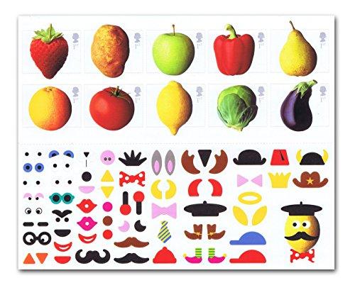 Fun Obst und Gemüse Briefmarken-10x 1st Class Royal Mail Briefmarken. 2003Obst und Gemüse Selbstklebende Briefmarken mit Erdbeere, Kartoffel, Apple, Pfeffer, Birne, Orange, Tomate, Zitrone, Sprossen und aubergine -