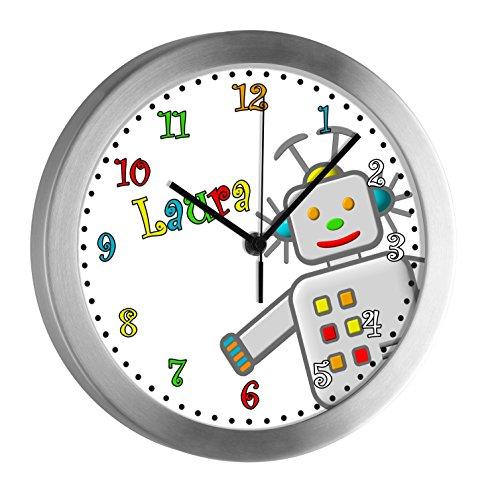 CreaDesign Kinder Funkwanduhr mit (Wunsch) Namen | Kinderzimmer Funkuhr| mit Analog ? Ziffernblatt | geräuscharm | Wanduhr Ideal als Geschenk für Ein Kind | Motiv Roboter