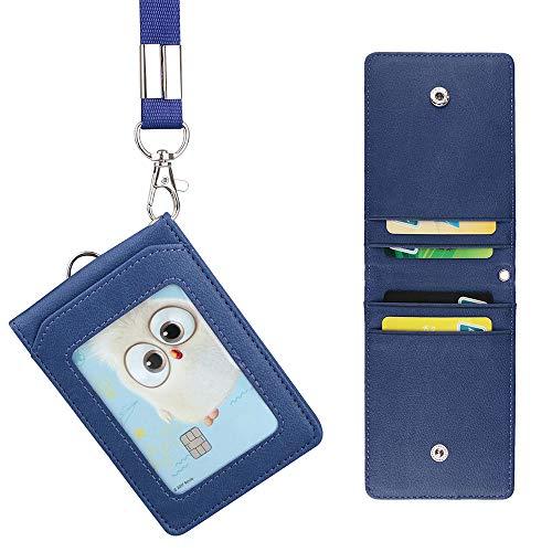 LEUYUAN Porta Badge con Cordino, Porta Tesserino in Cuoio Artificiale con 1 finestra ID e 4 fessura per carte (Blu)
