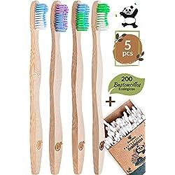 4 Cepillo Dientes Bambu ecologico con 200 Bastoncillos Ecologicos - Productos Ecologicos Vegano Zero Waste By Ecocious