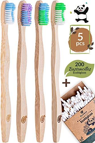 4 Cepillo Dientes Bambu ecologico 200 Bastoncillos