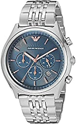 Emporio Armani Mens Quartz Stainless Steel Automatic Watch, Color:Silver-Toned (Model: AR1974)