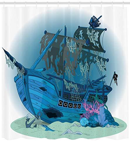 ZiHeadwear Pirate Ship Shower Curtain Sunken Old Wrecked Buccaneer Vessel Antique Aquatic Underwater View