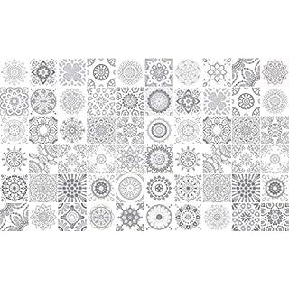 Ambiance-Live 60Aufkleber Fliesen   Sticker Selbstklebend Fliesen-Mosaik Fliesen Wandtattoo Badezimmer und Küche   Fliesen Kleber-Nuance-grau-10x 10cm-60-teilig