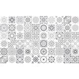 60 Stickers adhésifs carrelages | Sticker Autocollant Carrelage - Mosaïque carrelage mural salle de bain et cuisine | Carrelage adhésif - nuance de gris - 10 x 10 cm - 60 pièces