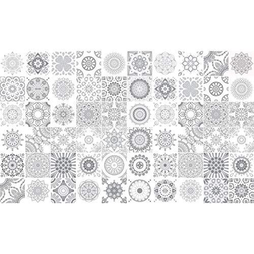 Ambiance-Live 60Aufkleber Fliesen | Sticker Selbstklebend Fliesen-Mosaik Fliesen Wandtattoo Badezimmer und Küche | Fliesen Kleber-Nuance-grau-10x 10cm-60-teilig