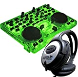 Hercules DJ Control Glow Green DJ Controller + KEEPDRUM Stereo-Kopfhörer