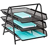 JD9 Metal Mesh 3 Tier Document Tray, File Tray, File Rack for A4 Documents/Files/Papers/Letters/folders Holder Desk Organizer (Black)