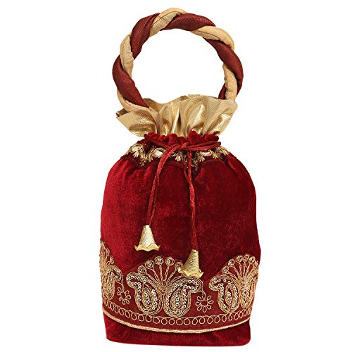 Kuber Industries Exclusive Checkered Velvet Rajasthani Potli Bag/Clutch/Bridal Clutch (Multi) Set of 1 Pc-KESH652