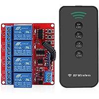 Fdit Interruptor de control remoto inalámbrico Aprendizaje receptor de relé Módulo Inteligente transmisor RF a 4 teclas Kit puerta doméstica 433 MHz