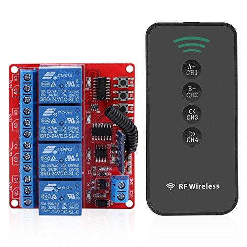 Fdit Schalter-Kontrolle Remote Wireless Receiver lernen von Relais Modul intelligentes Sender RF A 4Tasten Kit-häuslicher 433MHz