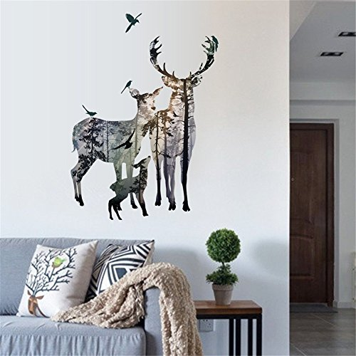 BTJC Transparente Hirsch Wohnzimmer Korridor Schlafzimmer Hintergrund Wandaufkleber dekorative Tapete Wandbilder entfernt werden können Starke Sinn für dreidimensionale