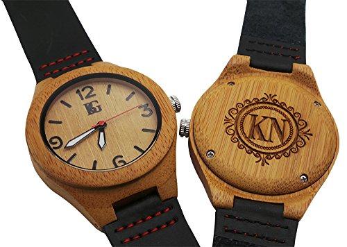 Personalisierter Gravur Holz Armbanduhr Armbanduhr echt Leder Luxus Box Monogramm Custom Gravur Vater der Braut Dad Mann Groom (Monogramm-leder Personalisierte)