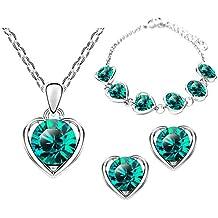 Mianova Damen 3 Teiliges Set Silber in Herz Form mit Runden Swarovski  Elements Kristallen - Ohrringe b355bc3c9c