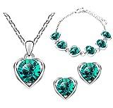 Mianova Damen 3 teiliges Set Silber in Herz Form mit runden Swarovski Elements Kristallen - Ohrringe Armband und Kette Grün