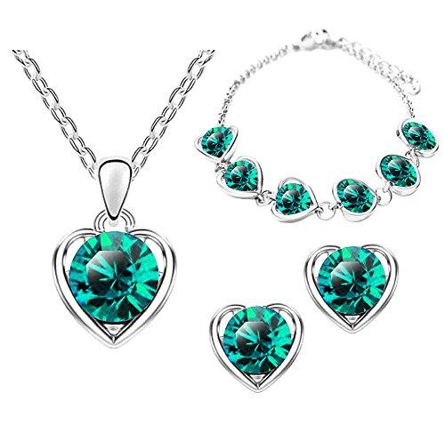 Mianova® Damen Schmuck-Set 3-teilig Silber in Herz Form mit runden Swarovski Elements - Ohrringe Armband und Kette Grün