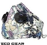 ECO-GEAR Maschera facciale antinquinamento lavabile, respiratore per particelle, protezione N95 con 3 filtri aria per attività indoor e outdoor Eco garden