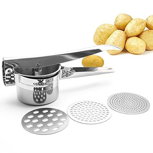 SHU UFANRO Kartoffelpresse mit 3 austauschbaren Edelstahlscheiben- Obstpresse für Kartoffelpüree, Spätzle, Soßen und Säfte (Silber)
