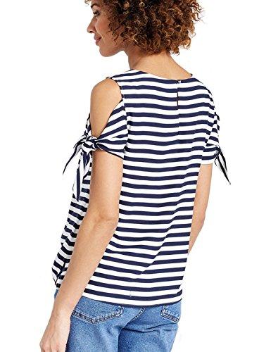 Blühende Gelee-Frauen-Oberseite kalte Schulter gestreifte T-Shirt Bindung Schulter-beiläufiges T-Stück Mehrfarbig