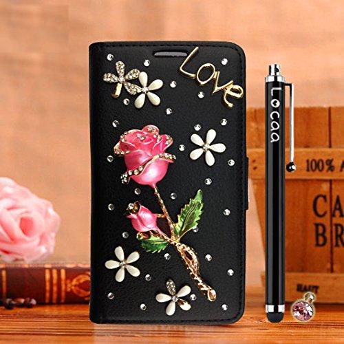 Locaa(TM) For Apple IPhone SE IPhoneSE 5SE 3D Bling Rose Case Fait Main Love Cuir Qualité Housse Chocs Retour Bumper Cases Cas Couverture Protection Cover Shell [Série Rose 1] Rouge - Rose Rose Noir - Rose Rouge Clair