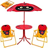 Deuba Kindersitzgruppe | mit Sonnenschirm Tisch und Stühlen | Klappstuhl Gartenmöbel für Kinder Gartenstuhl Set