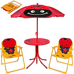 kindersitzgruppe kinder gartenm bel set beetle mit h henverstellbarem sonnenschirm. Black Bedroom Furniture Sets. Home Design Ideas